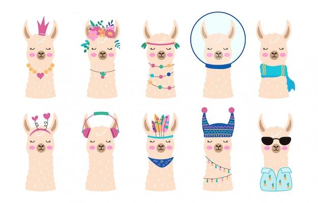 Rostos da coleção de alpacas bonitinho. lhamas de mão desenhada em estilo escandinavo. conjunto de cabeças de animais engraçados. lama em óculos de sol, unicórnio, rei. ilustração Vetor Premium
