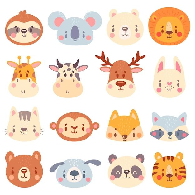 Rostos de animais fofos. conjunto de retratos de animais coloridos, tigre fofinho, cabeça de coelho engraçada e ilustração de cara de raposa engraçada. Vetor Premium
