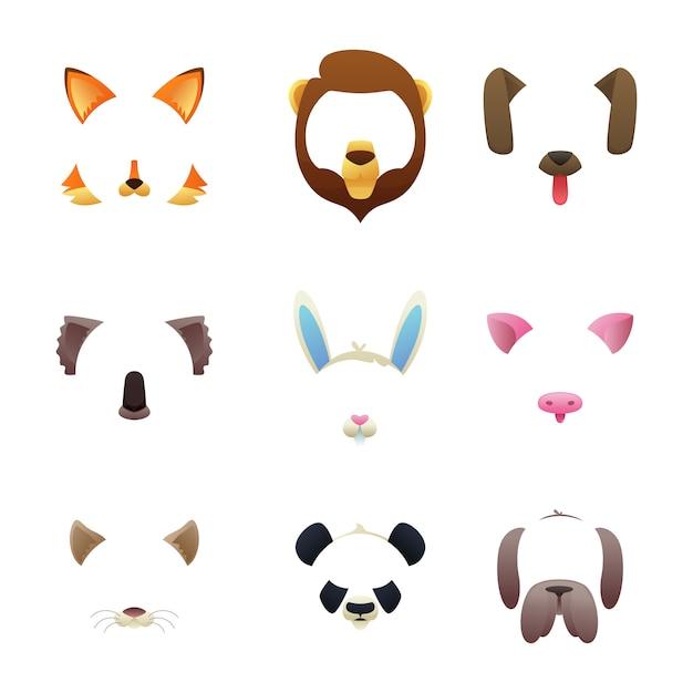 Rostos de animais para filtros de vídeo ou foto Vetor Premium
