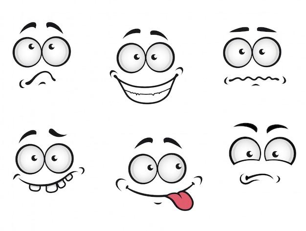Rostos de emoções dos desenhos animados Vetor Premium