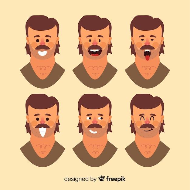 Rostos do homem com emoções diferentes Vetor grátis