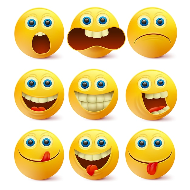 Rostos sorridentes amarelos. modelo de personagens emoji Vetor Premium