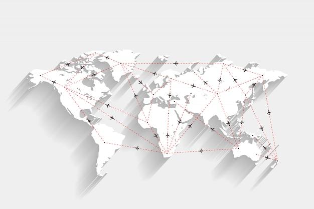 Rotas de aeroporto e avião no mapa do mundo branco Vetor Premium