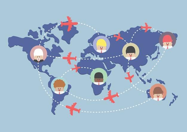 Rotas de empresário e avião no mapa do mundo Vetor Premium