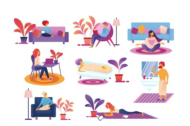 Rotina de vida de pessoas todos os dias, passar tempo em casa. Vetor Premium