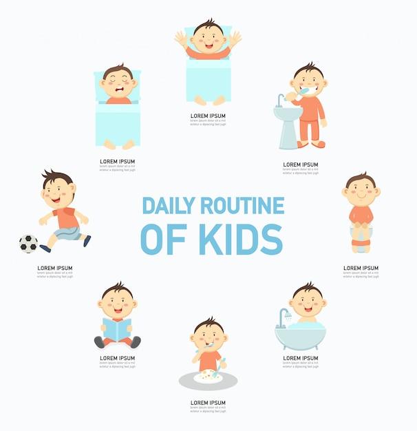 Rotina diária de crianças infográfico, ilustração. Vetor Premium