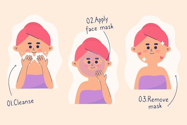 Rotina ilustrada de cuidados com a pele para mulheres Vetor Premium
