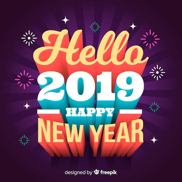 Rotulação 3d ano novo 2019 Vetor grátis