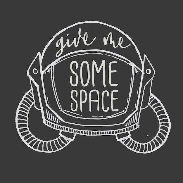 Rotulação de mão de tipografia me dar alguma citação de espaço Vetor Premium