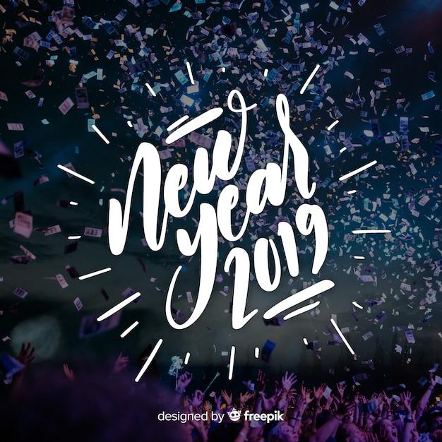 Rotulação do novo ano de 2019 Vetor grátis