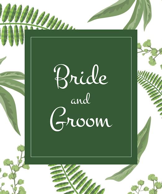 Rotulação dos noivos do convite do casamento no quadro verde no teste padrão das hortaliças. Vetor grátis
