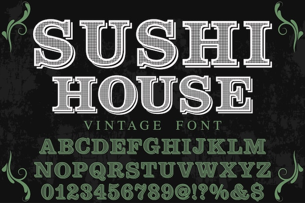 Rotulação rótulo design sushi casa Vetor Premium