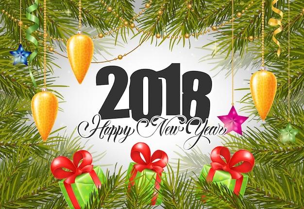 Rotulagem de ano novo 2018 com presentes Vetor grátis