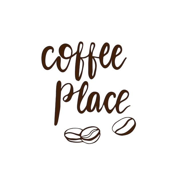 Rotulagem do café. ilustração do vetor. Vetor Premium