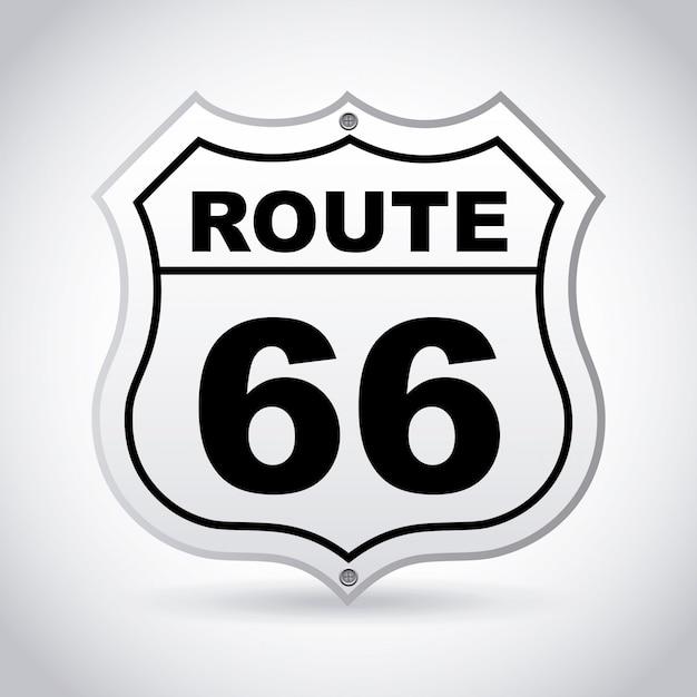 Rotular a rota 66 sobre ilustração vetorial de fundo cinza Vetor Premium