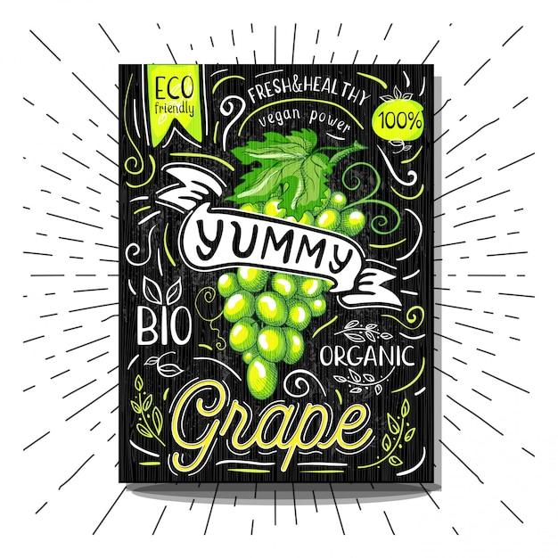 Rótulo colorido cartaz adesivos comida frutas vegetais giz esboço estilo Vetor Premium