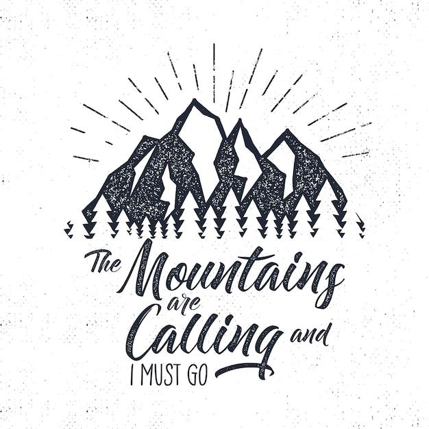 Rótulo de aventura desenhada de mão. montanhas chamando ilustração. Vetor Premium
