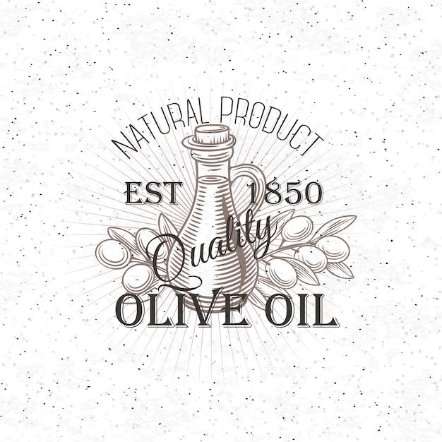 Rótulo de azeite de mão desenhada. Vetor Premium