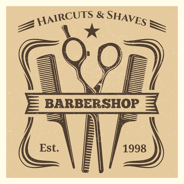 Rótulo de barbearia vintage desing em fundo grunge Vetor Premium