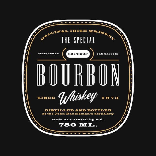 Rótulo de bebidas de álcool ocidental vintage, quadro-negro modelo de rótulo de uísque de bourbon Vetor Premium