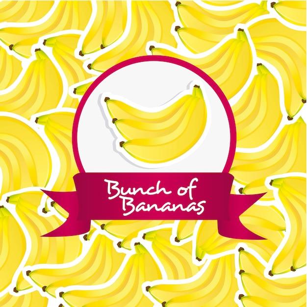 Rótulo de cacho de bananas sobre fundo padrão de bananas Vetor Premium