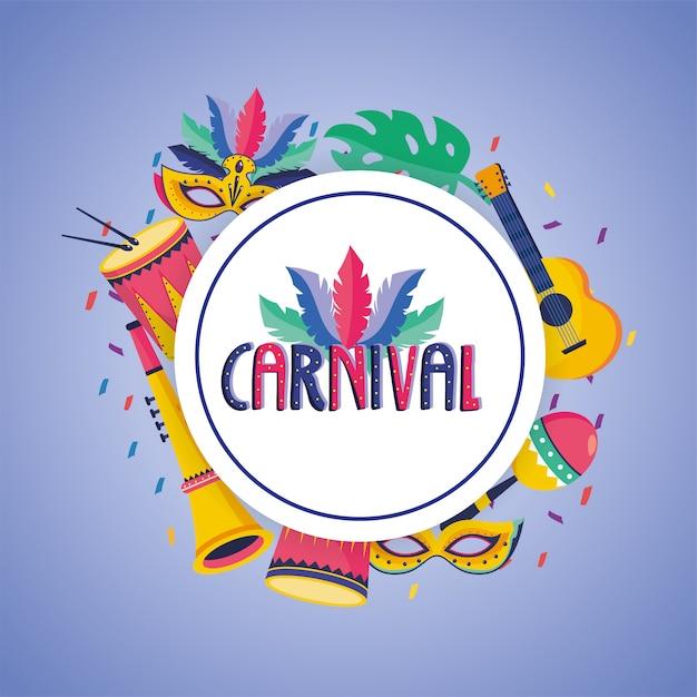 Rótulo de carnaval com decoração de máscara e tambor Vetor Premium