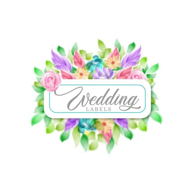 Rótulo de casamento floral em aquarela Vetor Premium