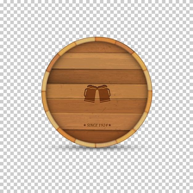 Rótulo de cerveja em barril de madeira de forma Vetor Premium