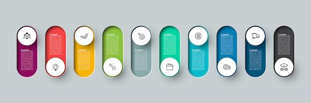 Rótulo de círculo longo 3d de infográfico de vetor, infográfico com número 10 processos de opções. Vetor Premium