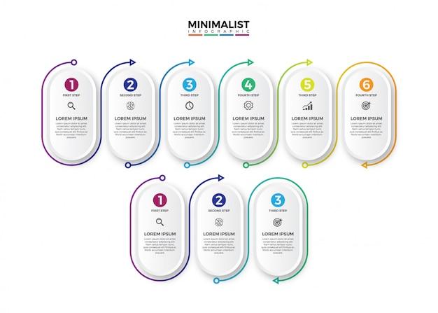 Rótulo de círculo minimalista infográfico 3d. Vetor Premium