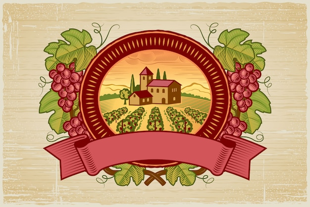 Rótulo de colheita de uvas Vetor Premium