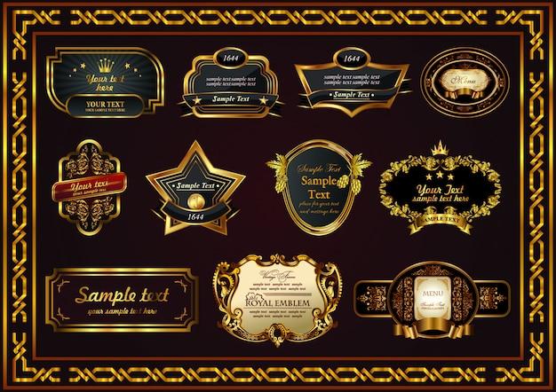 Rótulo de conjunto vintage elemento quadro borda floral Vetor Premium