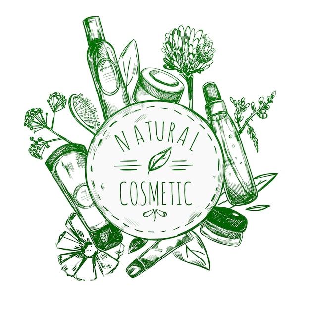 Rótulo de cosméticos naturais desenhados à mão Vetor grátis
