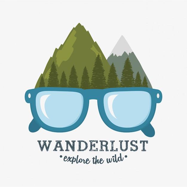 Rótulo de desejo por viajar com cena da floresta e óculos Vetor Premium