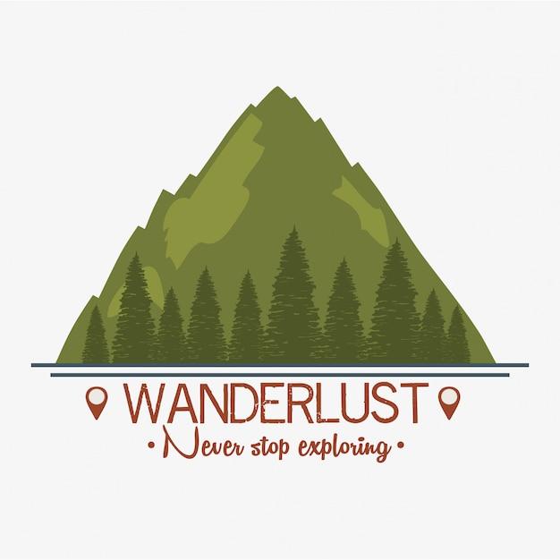 Rótulo de desejo por viajar com cena de paisagem e floresta Vetor Premium