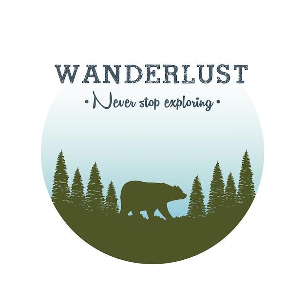 Rótulo de desejo por viajar com paisagem e cena de urso pardo Vetor Premium
