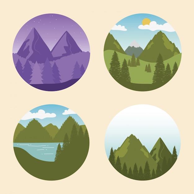 Rótulo de desejo por viajar com paisagens definir cenas Vetor Premium