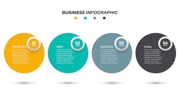 Rótulo de design do círculo infográfico modelo com opções de número. conceito de negócio com 4 etapas Vetor Premium