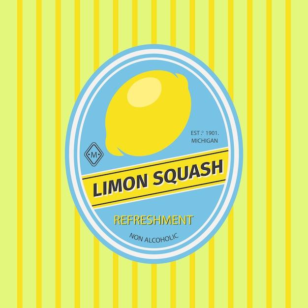 Rótulo de frutas retrô de abóbora limon Vetor Premium