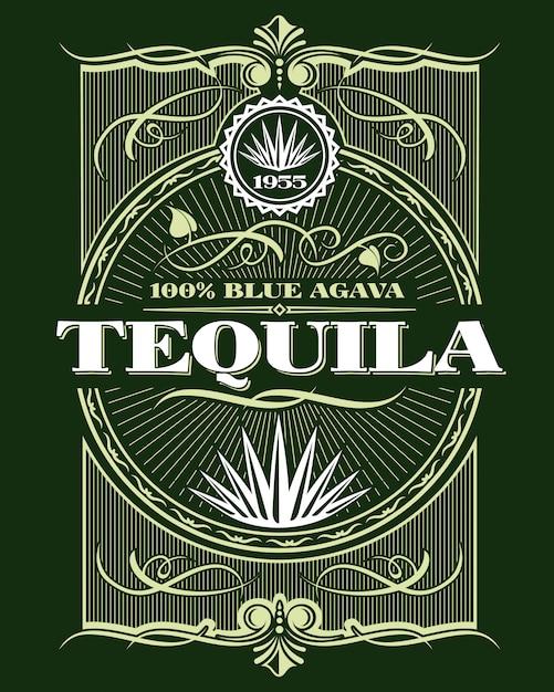 Rótulo de garrafa de bebida de tequila álcool vintage Vetor Premium