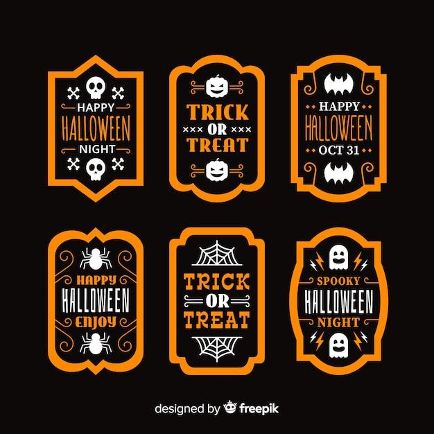 Rótulo de halloween plana e coleção de crachá Vetor grátis