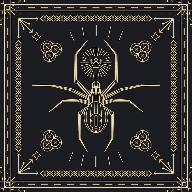 Rótulo de hipster de aranha de linha fina. animal inseto, vintage e retro, moldura dourada. Vetor grátis