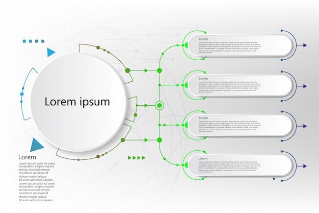 Rótulo de infográfico com ícones e 5 opções ou etapas. infográficos para negócios Vetor Premium