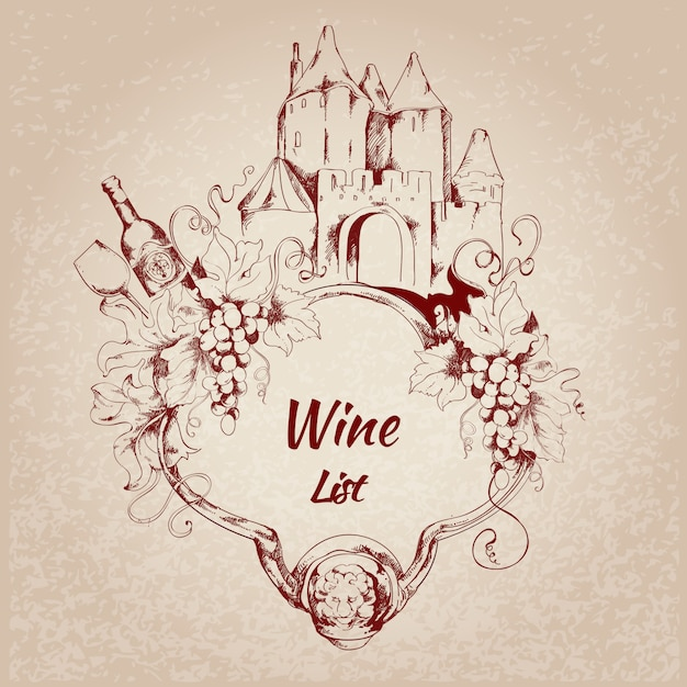 Rótulo de lista de vinhos Vetor grátis