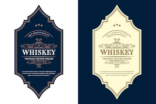 Rótulo de logotipo vintage de quadros de luxo para cerveja, whisky, álcool e bebidas, rótulos de garrafas premium Vetor Premium