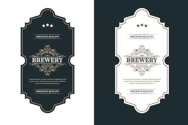 Rótulo de logotipo vintage luxo frames para cerveja, uísque, álcool e rótulos de garrafas de bebidas Vetor Premium