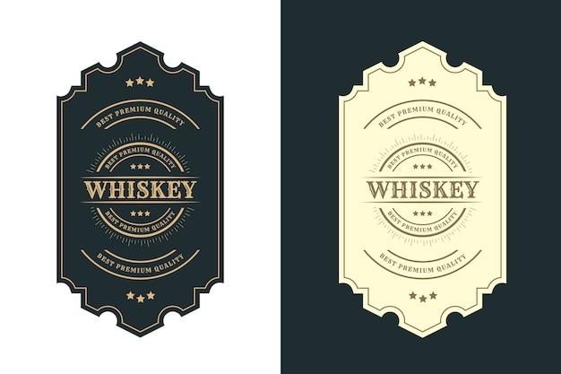 Rótulo de logotipo vintage royal luxo frames para cerveja, uísque, álcool Vetor Premium