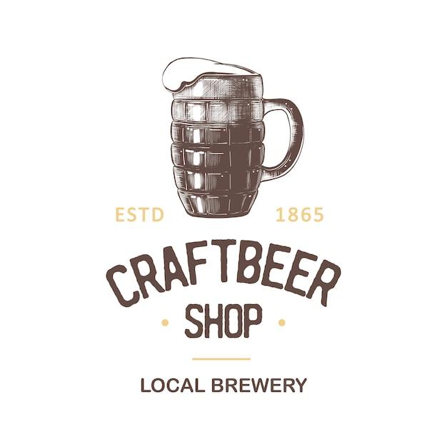 Rótulo de loja de cerveja vintage Vetor Premium
