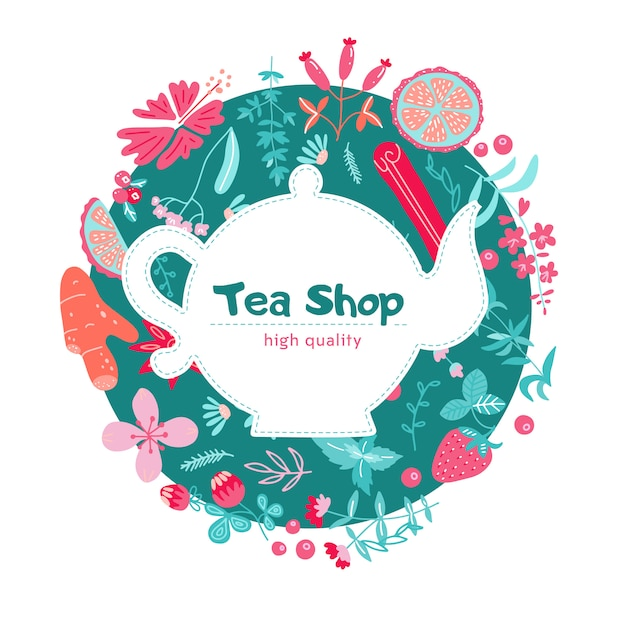 Rótulo de menu com ingredientes de chá de ervas Vetor Premium