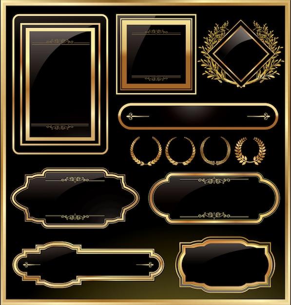Rótulo de moldura de ouro preto vintage vector Vetor Premium